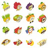 Best Fruit Icons Set. Isometric Set Of 16 Best Fruit Vector Icons For Web Isolated On White Backgrou poster