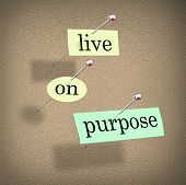 The words Live on Purpose cut out on pieces of paper and pinned to a bulletin board to remind you to
