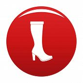 Woman Boots Icon. Simple Illustration Of Woman Boots Vector Icon For Any Any Design Red poster