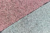 Roof Covering Of Red And Gray Roofing Material Is Divided By A Black Stripe Along The Diagonal. Rube poster