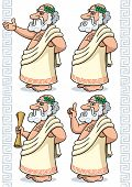 picture of socrates  - Cartoon Greek philosopher in 4 different poses. 