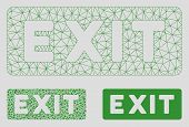 Mesh Exit Label Model With Triangle Mosaic Icon. Wire Frame Polygonal Mesh Of Exit Label. Vector Mos poster