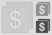 Mesh Finance Model With Triangle Mosaic Icon. Wire Frame Triangular Mesh Of Finance. Vector Mosaic O poster
