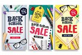 Back To School Sale Vector Poster Web Template. Sale Discount Text And School Items In Colorful Back poster