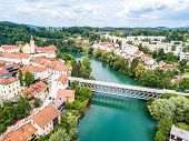 Aerial View Of Red Roofs Of Novo Mesto, Previously Rudolfswerth, Newestat, Slovenia, Lower Carniola  poster