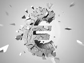 stock photo of depreciation  - 3d rendered abstract illustration of a broken euro sign - JPG