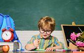 Child In Classroom. Cute Kid Drawing At Desk. Boy From Primary School. Schoolboy Near Blackboard In  poster