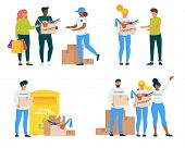 Volunteers With Clothing Donations Vector Illustrations Set. Voluntary Center Social Workers Flat Ch poster