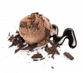 Chocolate Ice Cream Scoop On Chocolate Sauce Decorated With Chocolate Pieces Isolated On White Backg poster
