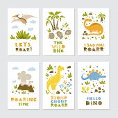 Dinosaurs Greeting Cards Dinosaurs Greeting Cards Big Vector Collection Set poster