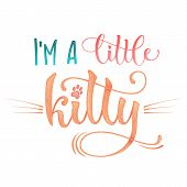 Im A Little Kitty Quote. Color Baby Shower Hand Drawn Calligraphy Style Lettering Phrase. poster