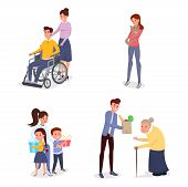 Cheerful Volunteers Flat Vector Characters Set. Female Caregiver Helping Disabled Individuals, Child poster