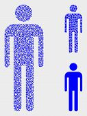 Dot And Mosaic Man Icons. Vector Icon Of Man Composed Of Scattered Circle Dots. Other Pictogram Is C poster
