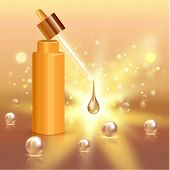Realistic Cosmetic Tube With Gold Drop And Pearls. Ad Concept For Collagen Or Moisturizing Creme Or  poster
