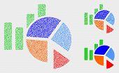 Dot And Mosaic Statistics Charts Icons. Vector Icon Of Statistics Charts Constructed Of Irregular Sp poster