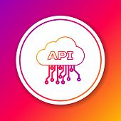 Color Cloud Api Interface Line Icon Isolated On Color Background. Application Programming Interface  poster