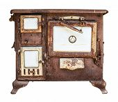 Isolated Rusty Old Farmhouse Stove, Oven Or Range On A White Background poster