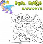 Cartoon Prehistoric Predatory Dinosaur Baryonyx, Funny Illustration poster
