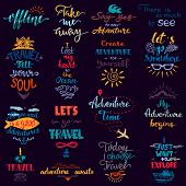 Traveling Lettering Vector Adventure Sign And Journey Typographic Print Illustration Set Of Voyage T poster