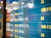 Electronic Scoreboard Flights And Airlines. Destinations: Simferopol, Bahrain, Minsk, St.petersburg, poster