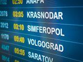 Electronic Scoreboard Flights And Airlines. Destinations: Simferopol, Volgograd, Krasnodar, Saratov. poster