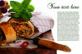 Tasty Spicy Strudel With Corn And Minced Meat As A New Recipe poster