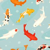 Koi Fish Vector Illustration Japanese Carp And Colorful Oriental Koi In Asia Set Of Chinese Goldfish poster
