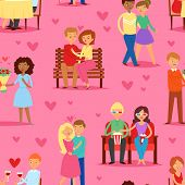 Couple In Love Vector Lovers Characters In Lovely Relationships On Loving Date Together On Valentine poster
