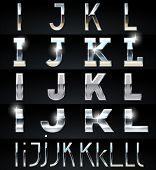 Enorme plata cromo y aluminio vector conjunto de alfabeto. 4 tipos. Set # 3
