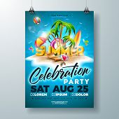 Vector Summer Party Flyer Design With 3d Typography Letter And Tropical Island On Ocean Blue Backgro poster