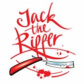 picture of serial killer  - Jack the Ripper maniac killer razor blade blood drop splash - JPG