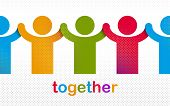 Worldwide People Global Society Concept, Different Races Solidarity, We Stand As One, Togetherness A poster