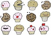 stock photo of hand drawn  - cookies and  muffins cartoon collection  - JPG