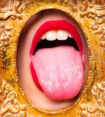 Tongue Mouth In Art Frame. Contemporary Art And Sexy Female Mouth. Golden Era In Art. Expensive Crea poster