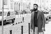 Need A Taxi. Businessman Catching Taxi While Standing Outdoors Urban Background. Man Bearded Hipster poster