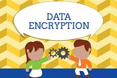 Word Writing Text Data Encryption. Business Concept For Symmetrickey Algorithm For The Encrypting El poster