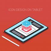Modern Frameless Tablet With Pen. 3d Isometric Tablet With Design App. Icons Design On Tablet. poster