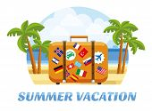 Summer Vacation. Summer Tropic Vacation. Vacation And Tourism Concept With Suitcase For Travel And R poster