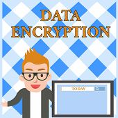 Conceptual Hand Writing Showing Data Encryption. Business Photo Text Symmetrickey Algorithm For The  poster