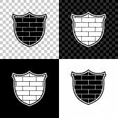 Shield With Cyber Security Brick Wall Icon Isolated On Black, White And Transparent Background. Data poster