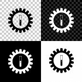 Gear And Test Tube Icon On Black, White And Transparent Background. Chemical Industry Concept. Cogwh poster
