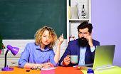 High School Concept. Student In College. Student. Couple Of Teachers In Classroom. World Teachers Da poster