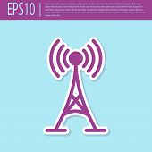 Retro Purple Antenna Icon Isolated On Turquoise Background. Radio Antenna Wireless. Technology And N poster