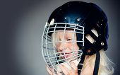 Sport Childhood. Future Sport Star. Sport Upbringing And Career. Girl Cute Child Wear Hockey Helmet  poster