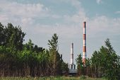 Giant Smoke Stack In Industrial Area Behind Trees. Industrial Structure With Big Pipe Of Brown Brick poster