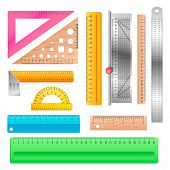 Ruler Vector School Stationery Maths Measurement Scale Tool To Measure Length Illustration Protracto poster