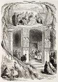 Palm Sunday old allegoric representation. Created by Lhernault, published on L'Illustration, Journal Universel, Paris, 1863