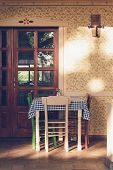 Old Vintage House With Dining Table. Dinner In Vacation. Dining Room In Old House. Vintage Dining Ro poster