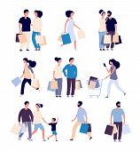 Shopping People Set. Man And Woman With Shopping Card Buying Product In Grocery Store. Isolated Shop poster