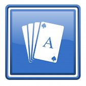 playing cards blue glossy square web icon isolated